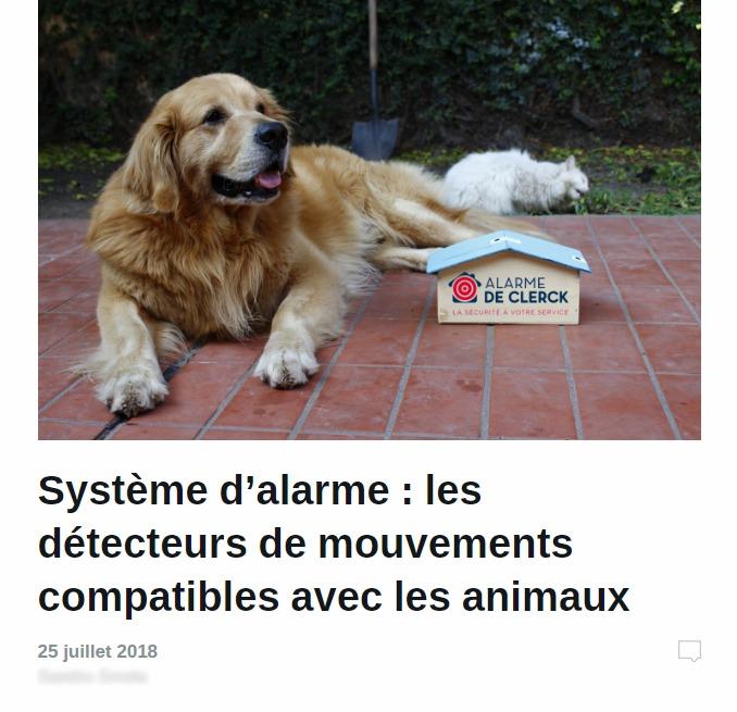 Alarme De Clerck : article animaux