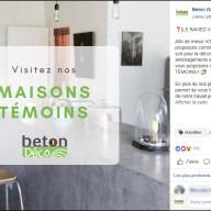 Béton Déco : publication Facebook maison témoin