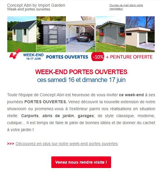 Concept Abri : newsletter sur les portes ouvertes