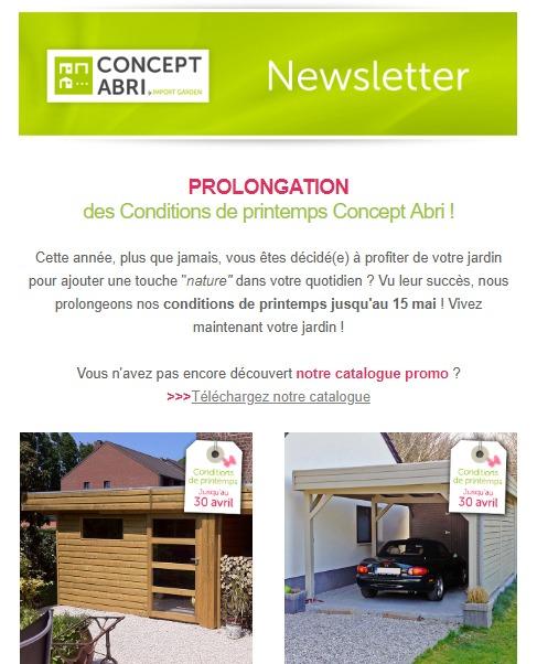 Concept Abri : newsletter - prolongation des portes ouvertes