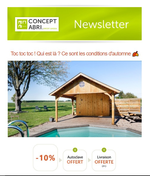 Concept Abri : newsletter conditions d'automne