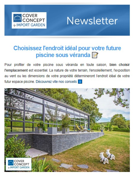Cover Concept - newsletter : emplacement espace piscine
