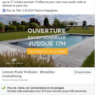 Leisure Pools : publication Facebook ouverture