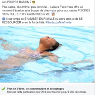 Leisure Pools : publication Facebook piscine