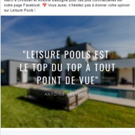 Leisure Pools : publication Facebook témoignage