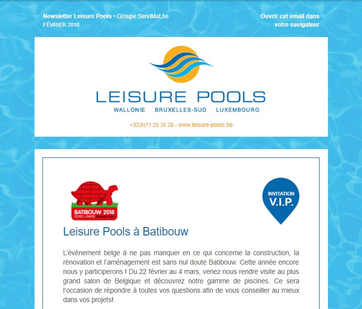 Newsletter de Leisure Pools : Batibouw