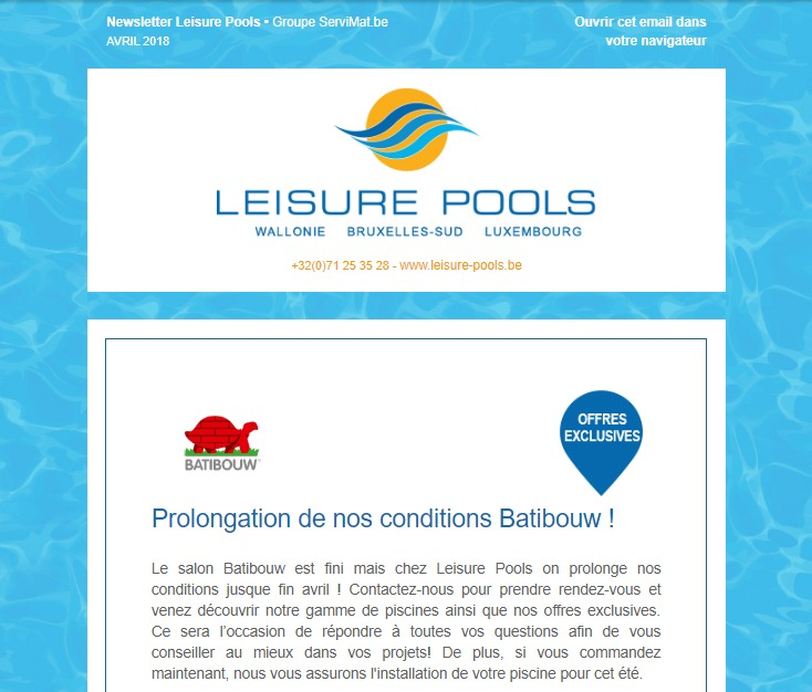 Newsletter de Leisure Pools : offres