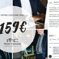 Mister Costumes : post Facebook magasin