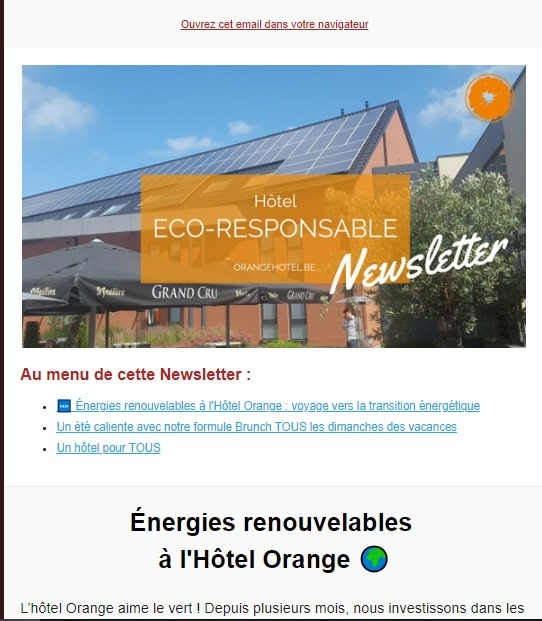 Orange Hotel : newsletter hôtel éco-responsable