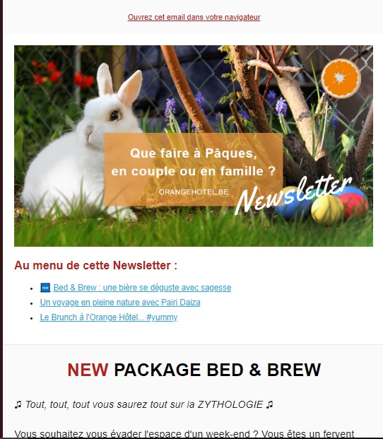 Orange Hotel : newsletter de Pâques