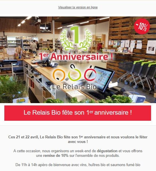 Relais Bio : newsletter anniversaire