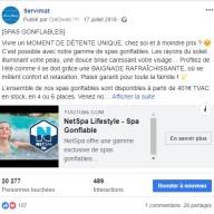 Servimat : publication Facebook sur les spas