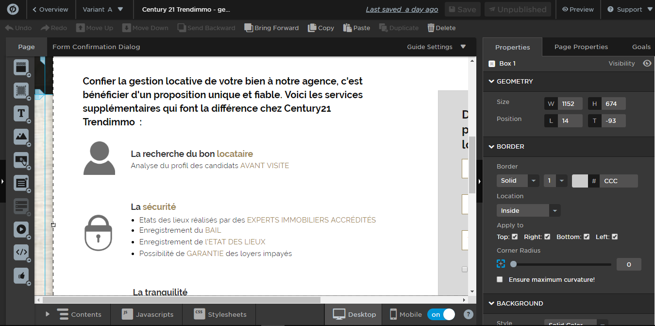 Interface outil Unbounce