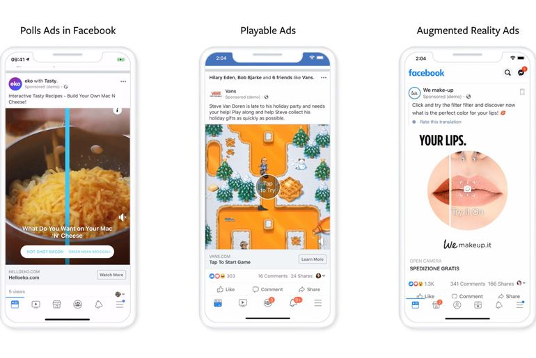 Nouveaux formats publicitaires facebook : sondages, réalité augmentée et gaming